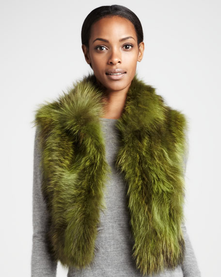 Colored Cropped Raccoon Fur Vest