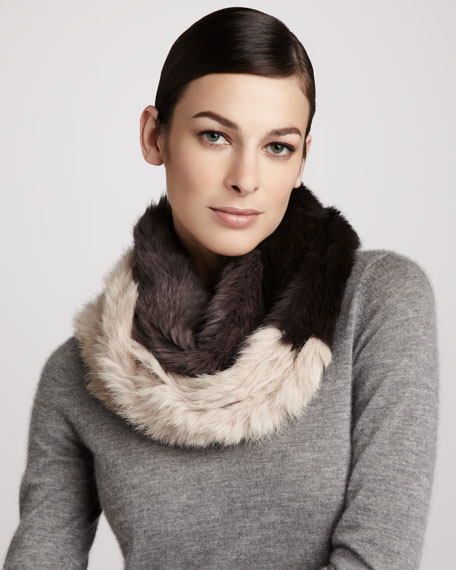Brooke Tricolor Rabbit Fur Infinity Scarf, Blush