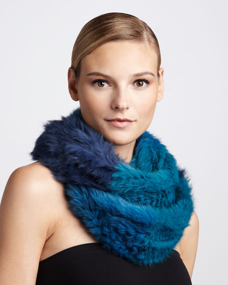Brooke Tricolor Rabbit Fur Infinity Scarf, Navy