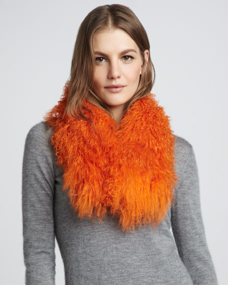Tibetan Lamb Fur Scarf, Orange