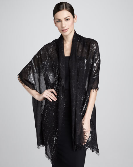 Splatter Metallic Stole, Black