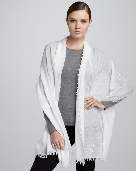 Splatter Metallic Stole, White