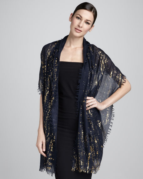Splatter Metallic Stole, Blue Nights