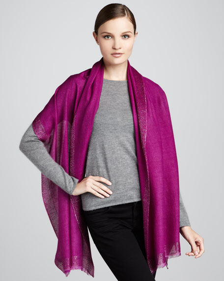 Metallic-Trim Stole, Purple