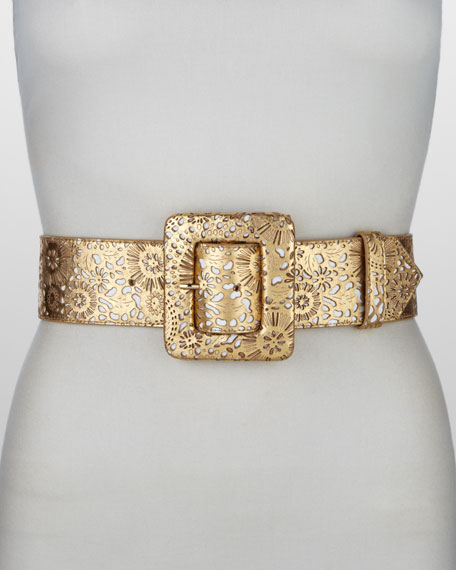 Metallic Cutout Leather Belt