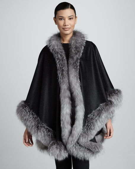 Fox Fur-Trimmed Cashmere U-Cape, Dark Gray