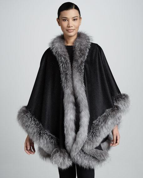 Fox Fur-Trimmed Cashmere U-Cape, Dark Gray
