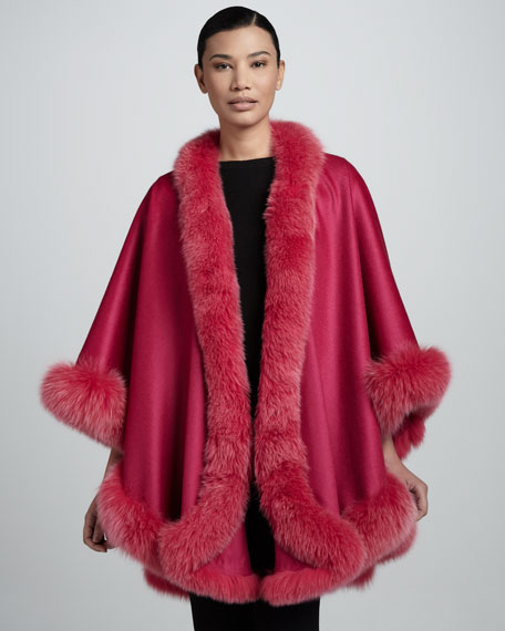Fox Fur-Trimmed Cashmere U-Cape, Fuchsia
