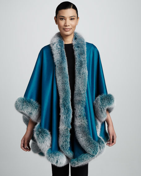 Fox Fur-Trimmed Cashmere U-Cape, Teal