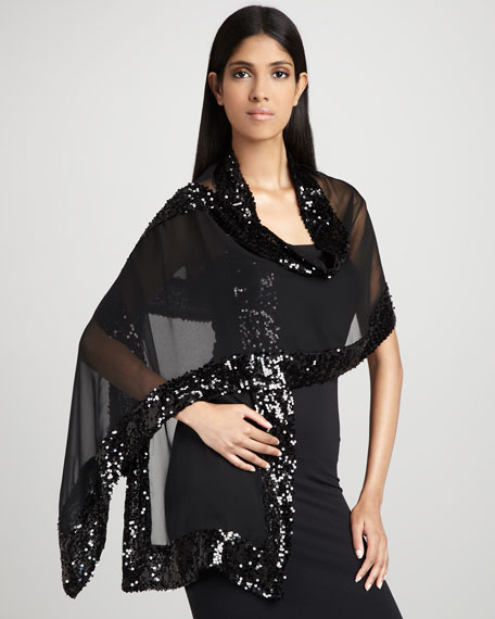 Sequined Silk Chiffon Wrap
