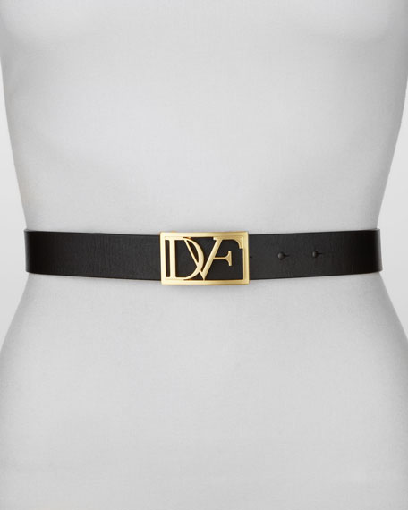 Leather DVF Plaque Belt, Black
