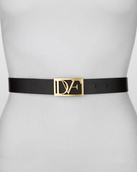 Leather DVF Plaque Belt, Black