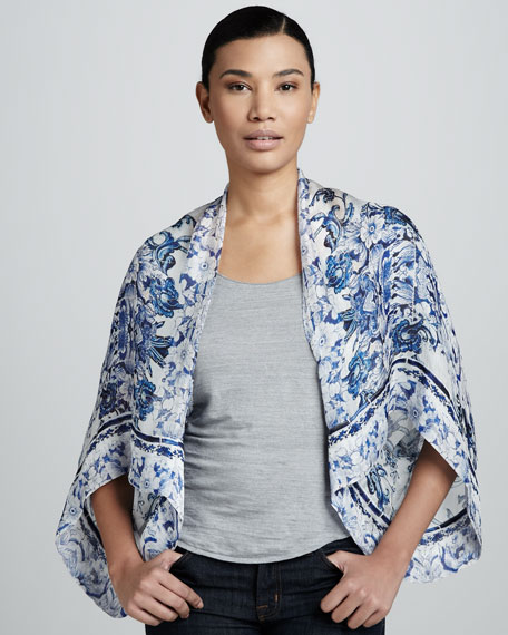 Fulham Printed Gauze Cape Shrug