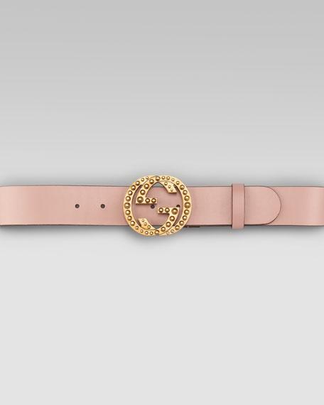 Metal Stud Interlocking Leather Belt, Dark Cipria