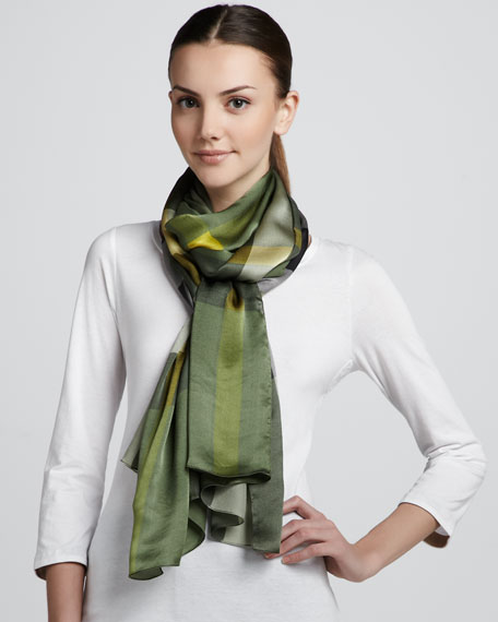 Mega Check Satin Scarf, Rosemary Check