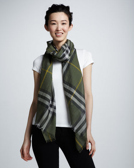 Giant Check Gauze Scarf, Rosemary