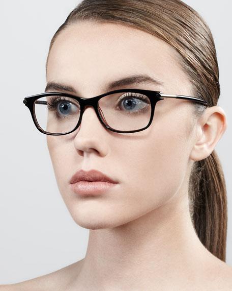Shiny Temple Fashion Glasses, Black
