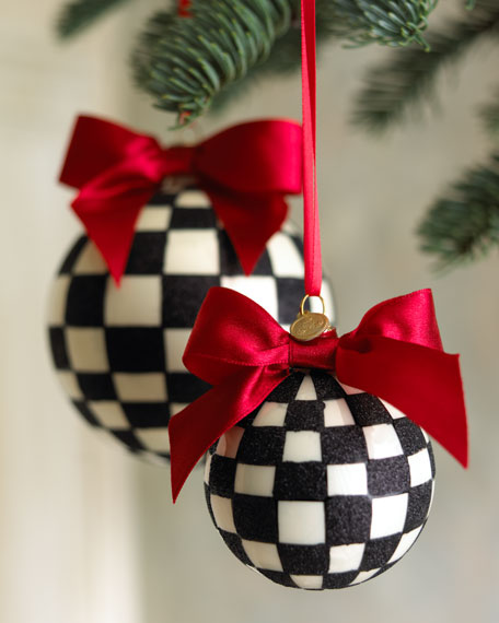 "Large ""Courtly Check"" Ball Ornament"