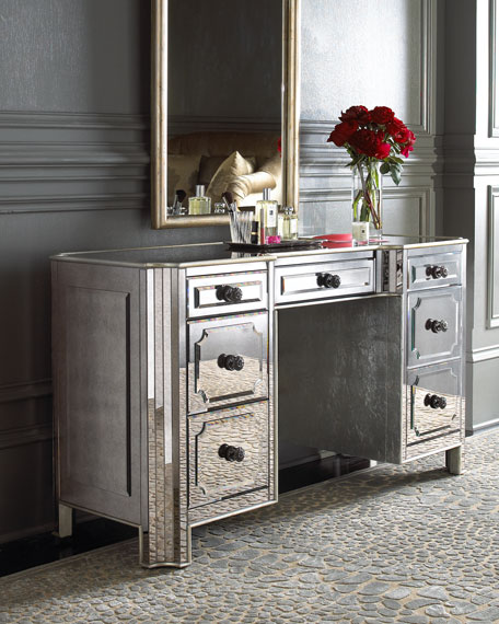 """Logan"" Mirrored Vanity/Desk"