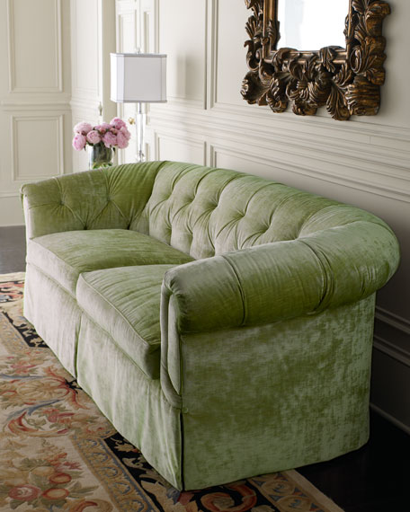 Mint Green Tufted Sofa