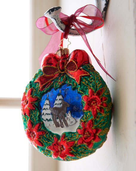 """Wintertime Friends"" Christmas Wreath Ornament"