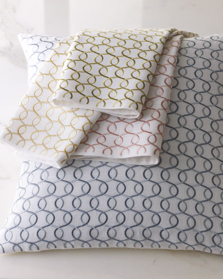 """Link-Embroidered Shayna Pillow, 20""""Sq."""