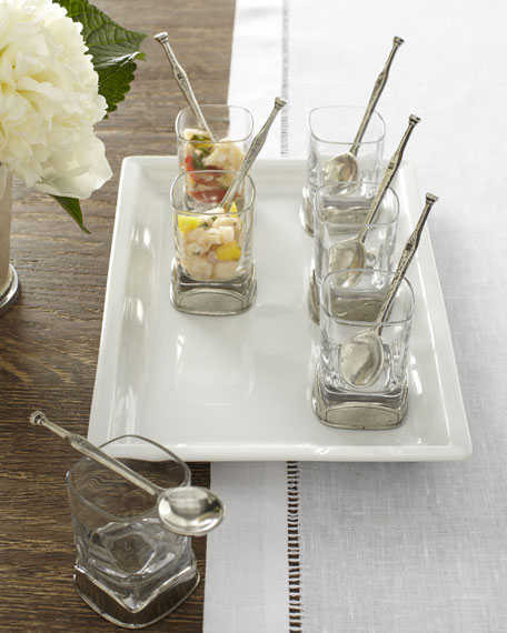 Six Mini Dessert Glasses with Tray & Spoons