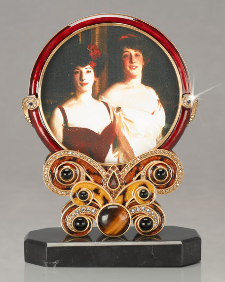 """Evelyn"" Round Jeweled Frame"