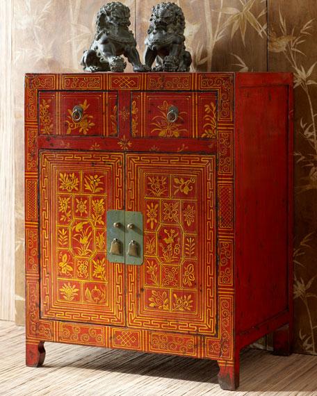 Antique Floral Side Cabinet