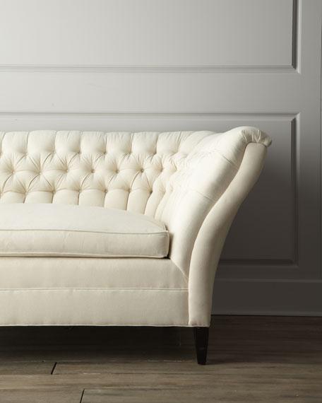 """Ellsworth"" Neutral Tufted-Curve Sofa"