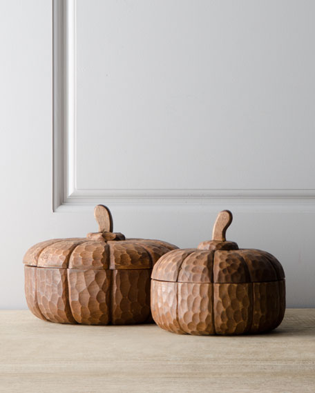 Two Wooden Pumpkin Dishes