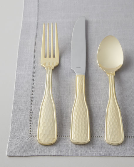 """Hammered Gold """"Country"""" 45-Piece Flatware Service"""