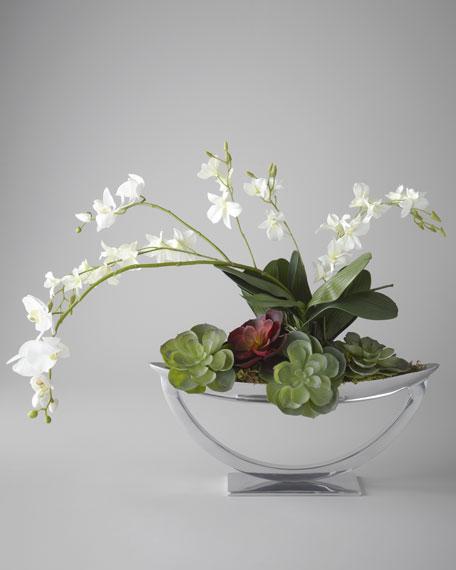 """""""Steely Orchids"""" Faux Floral Arrangement"""