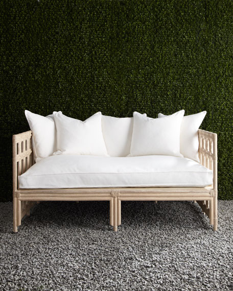 White Faux Bamboo Outdoor Sofa Neiman Marcus