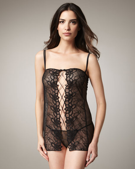 Embroidered Tulle Babydoll & Thong Set