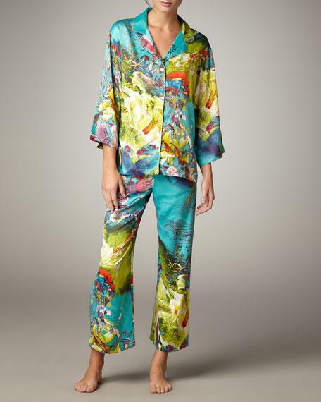 Awai Floral-Print Charmeuse Pajamas