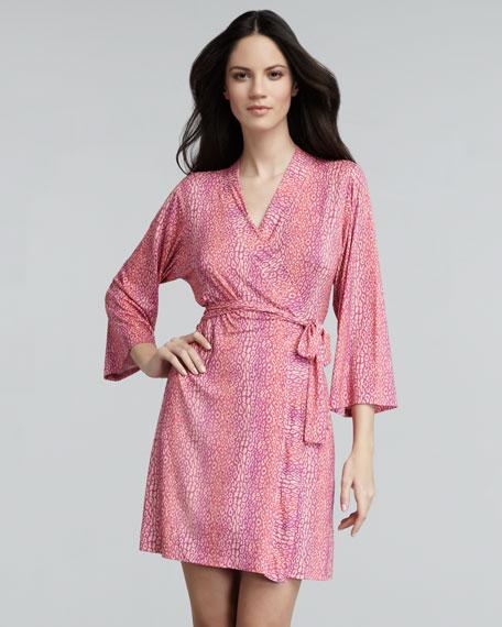 Anouck Leopard-Print Robe, Cyclamine