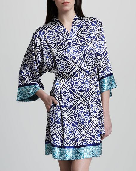 Jewel Medallion-Print Short Robe