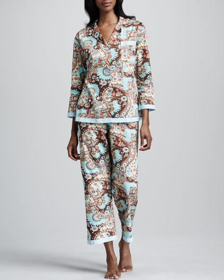 Boho Paisley-Print Sateen Pajamas