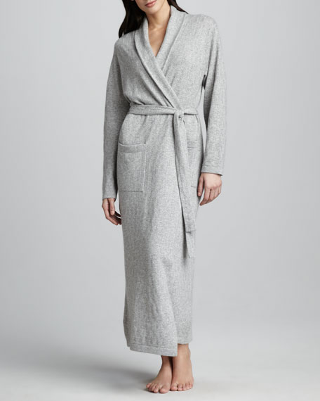 Chevron-Knit Long Cashmere Robe, Light Gray