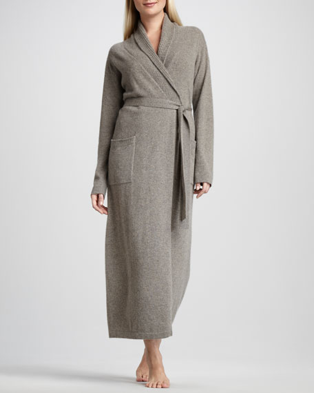 Waffle-Trim Long Cashmere Robe, Mushroom