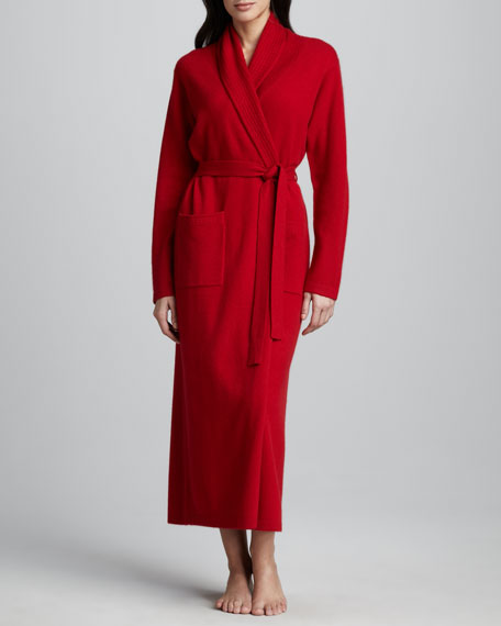 Waffle-Trim Long Cashmere Robe, Red