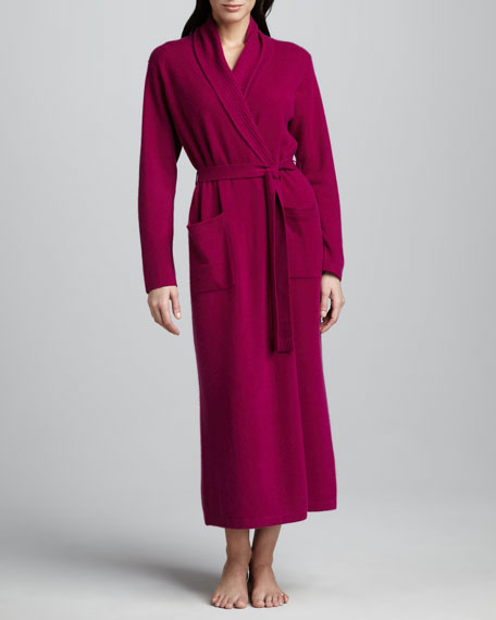 Waffle-Trim Long Cashmere Robe, Jelly Purple