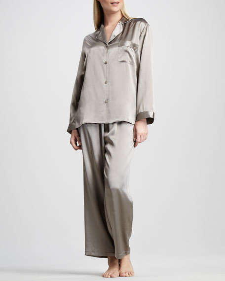 Tailored Silk Pajamas, Mushroom
