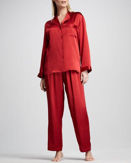 Tailored Silk Pajamas, Red