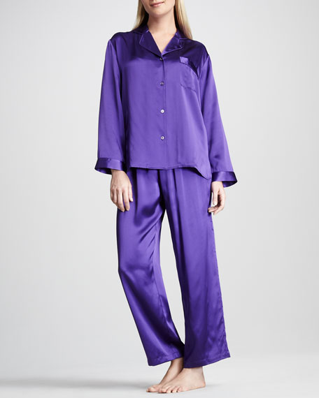 Tailored Silk Pajamas, Purple
