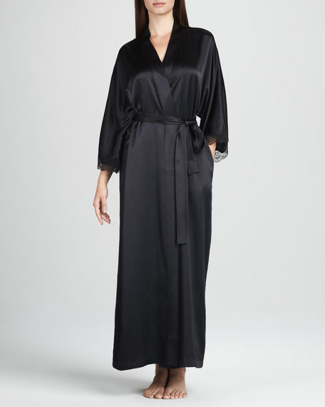 Long Silk Robe, Black