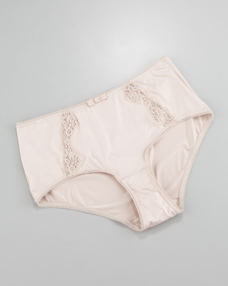 Maud Lace-Panel Briefs, Seashell