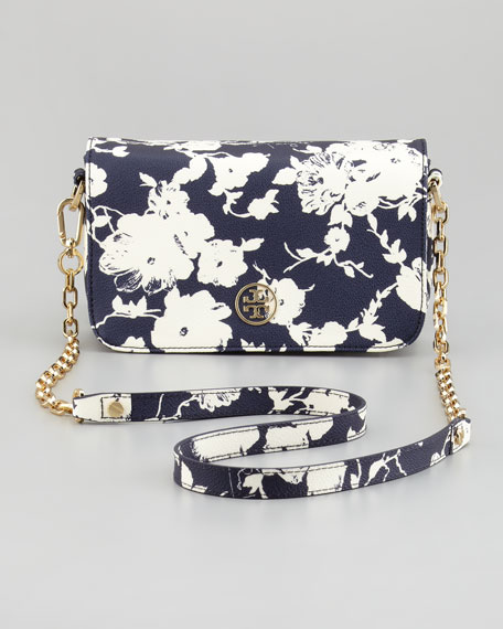 Robinson Floral-Print Mini Crossbody Bag, Navy