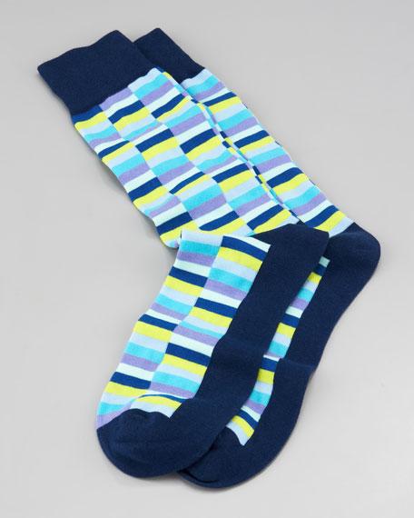 Mini-Rectangle Men's Socks, Navy
